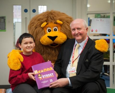 Nathan Gonzalez with Cllr Mitchell and Leo the environmentally friendly lion