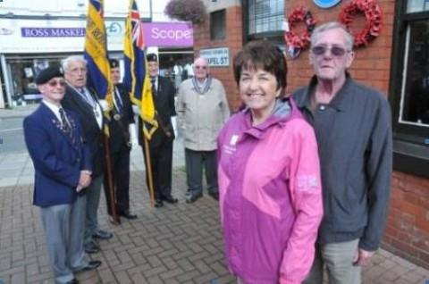 Julie and Ray on Chapel Street, Altrincham, with members of the Royal British Legion