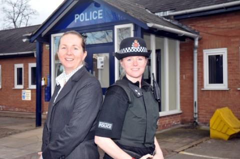 Det Insp Myra Ball and Neighbourhood Insp Laura Burgess at Altrincham Police Station