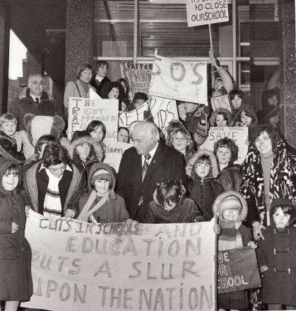 Campaigning MP - Sir Fergus (centre) joins parents and pupils protesting against the proposed closure of Glebelands Road School in Sale, in 1980.Photo courtesy of Trafford Local Studies