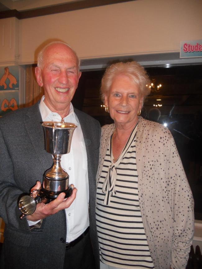 Mark Saperia with Doreen Hayhurst after the contest with the trophies, the big one to keep for a year and the smaller one to keep forever