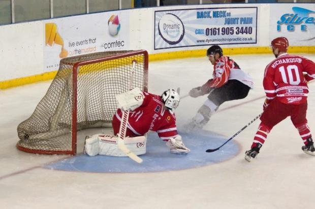 Messenger Newspapers: Phoenix's Richard Bentham nets his goal in the second period - by Richard Amor Allan