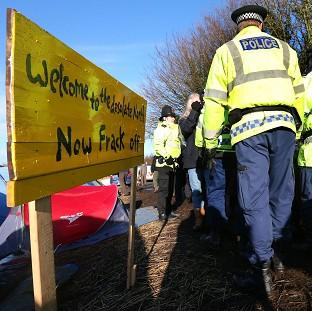 Anti-fracking campaigners protesting against plans for exploratory drilling at Barton Moss