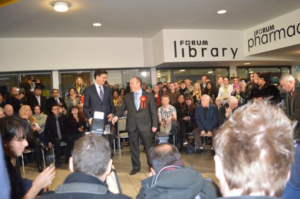 Ed Miliband and Mike Kane at Wythenshawe forum
