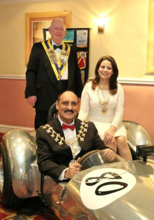 David Wiliams, the Rotary Club of Altrincham president, Farah and Dylan Butt