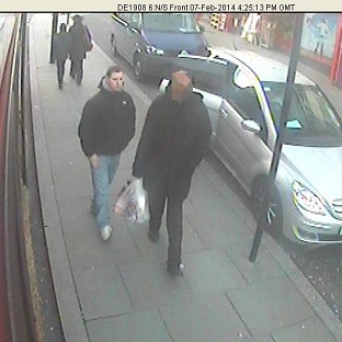 CCTV picture shows Dean Mayley (left), walking in Gr