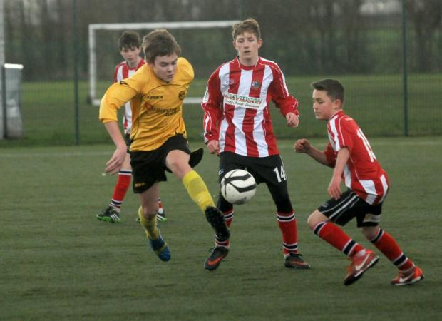 Action from the match between Altrincham u-14s and Lillestrøm SK