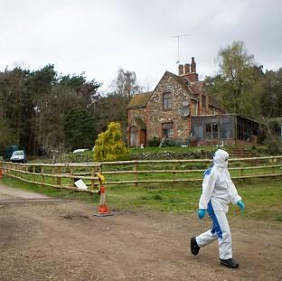 Messenger Newspapers: Police at the scene at Keepers Cottage Stud in Waverley Lane, Farnham, Surrey
