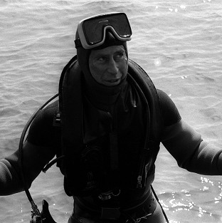 The Prince of Wales surfaces after a dive to visit the wreck of the Mary Rose.