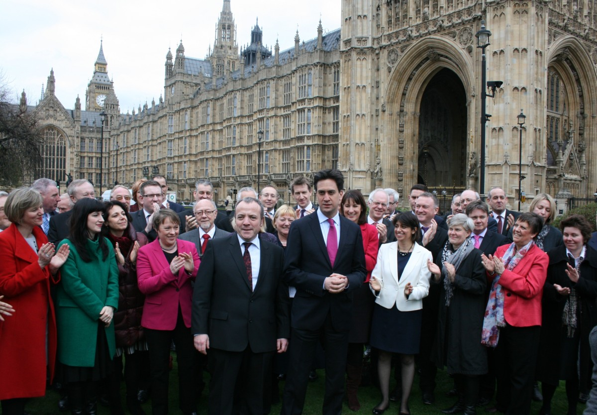 Mike Kane and Labour leader Ed Miliband and Labour colleagues including, (front row, second right from David Miliband in dark coat, Kate Green MP for Stretford and Urmston)