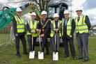 L-R Nick Hey, construction director at Peel; Cllr Hyman, the Mayor of Trafford Cllr Dylan Butt, Louise Morrisssey, Steve Rees, construction director at CPUK and Michael Nuttall, development planning manager at Peel