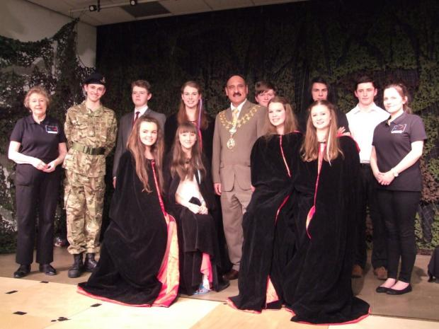 The actors with Valerie Haris and Cllr Butt