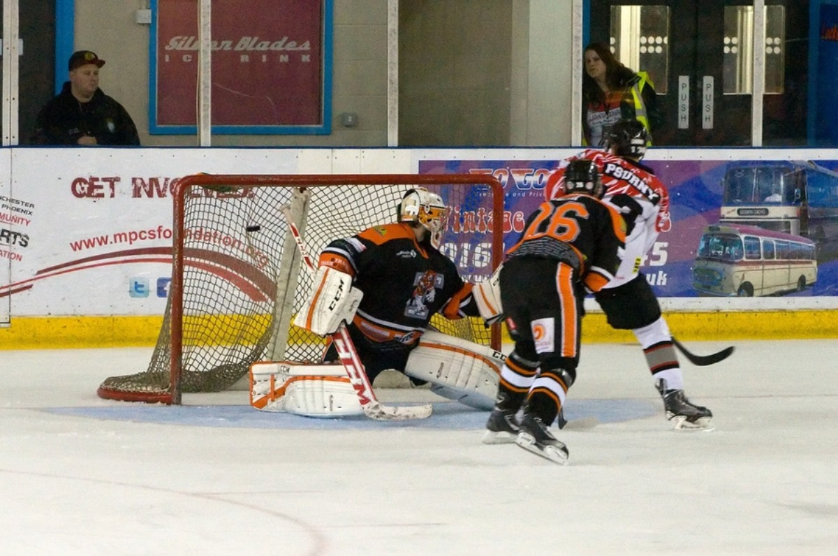 Michal Psurny nets the sudden death winner in overtime against Telford - by Richard Amor Allan