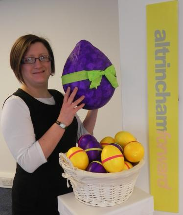 Hazel Kimmitt from the Altrincham Forward town team with one of the colourful eggs.