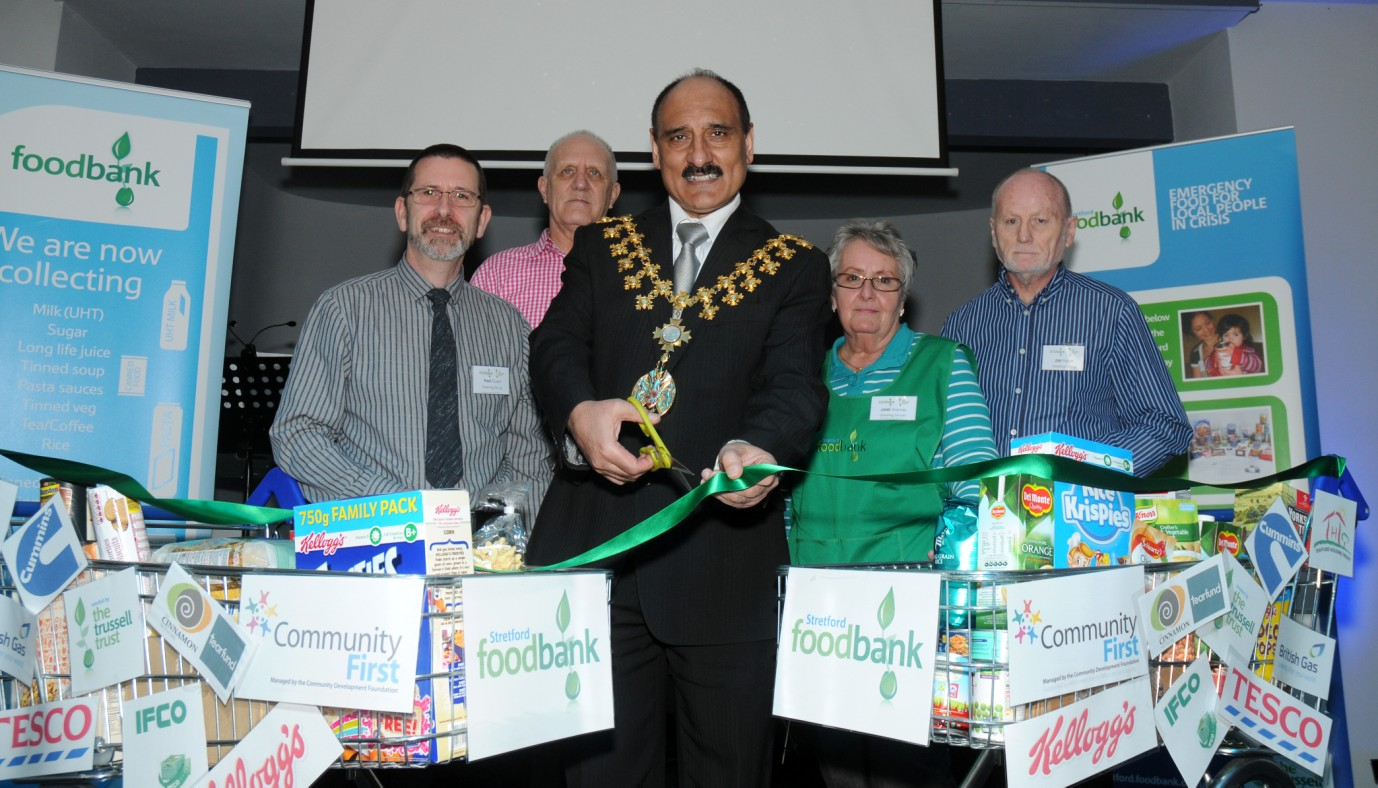 The Mayor of Trafford opening Stretford Food Banks recently