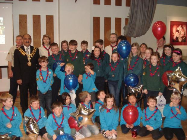 The Mayor Cllr Dylan Butt, with 23rd Stretford St.Matthew's Victoria Scout Group