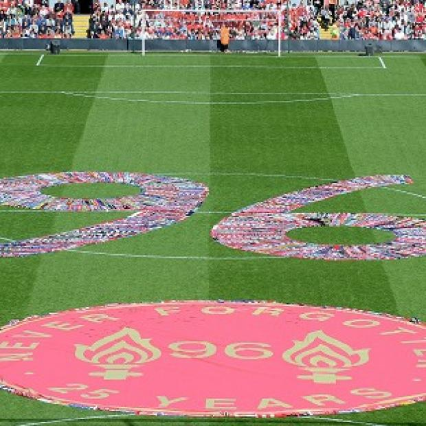 Messenger Newspapers: Fans' scarves make up a 96, filling the centre circle before the Hillsborough 25th Anniversary Memorial Service at Anfield Stadium, Liverpool