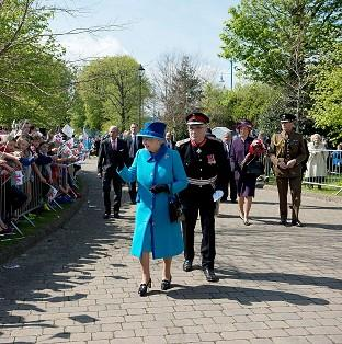 The Queen was greeted by enthusiastic crowds during a visit to the Royal Dockyard Chapel in Pembroke Dock