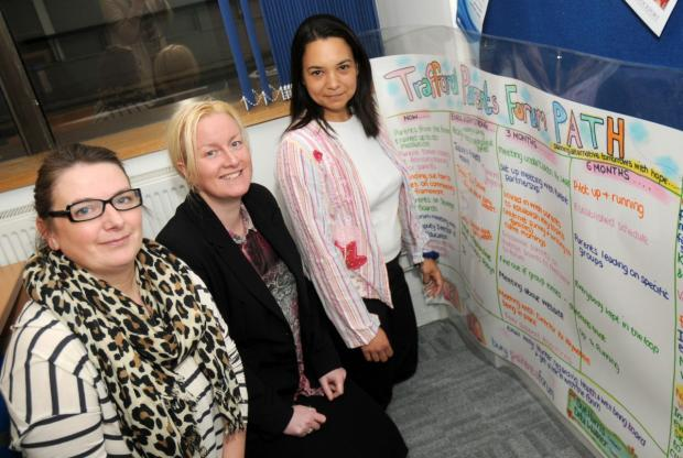 Trafford Parents Forum members Justine Bailey (chairman) Nicky Montes (secretary) and Elizabeth Stanley (vice chairman)