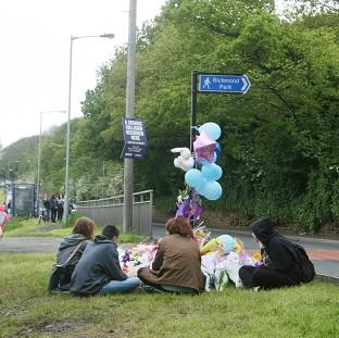 Messenger Newspapers: Friends of Jasmyn Chan hold a vigil near to the scene where the 14-year-old died following a hit-and-run collision in Sheffield
