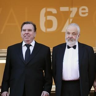 Actor Timothy Spall and director Mike Leigh arrive for the screening of Mr Turner at the Cannes film festival (AP)