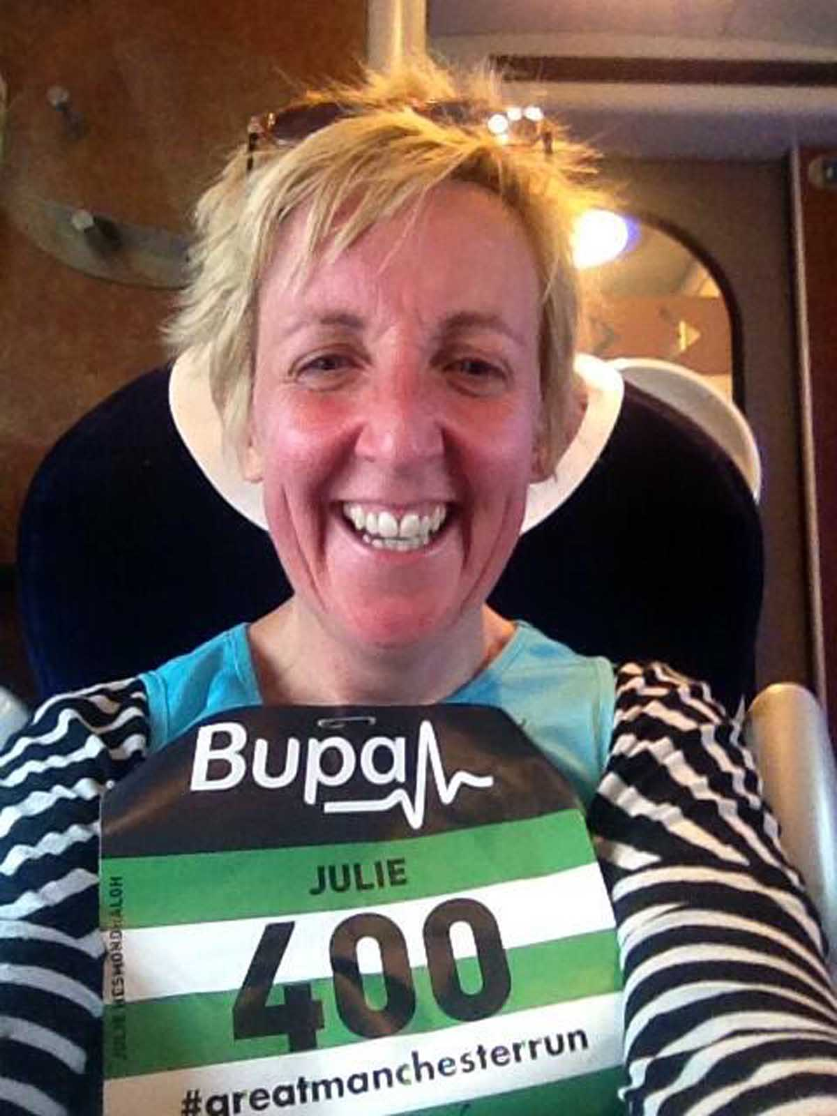 Messenger Newspapers: Julie Hesmondhalgh following the Manchester 10k earlier in the day