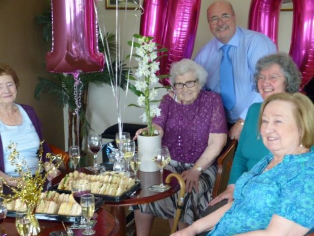 Elsie celebrates her 100th birthday with friends and family at Urmston Conservative Club