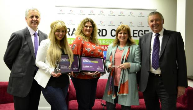 Guest speaker Mike Blackburn (North West Regional Director for BT), The Hair Bank Salon team and Sir Bill Moorcroft
