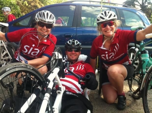 Cathy Leech (right) with Gary Dawson from the SIA (Spinal Injuries Association) and Pauline Terry at the end of their successful charity ride which raised £7000 for the SIA
