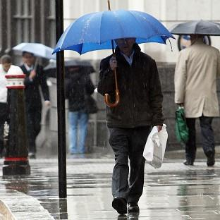 Two bands of thundery rain made their way northwards from the south of England but brought relatively little disruption