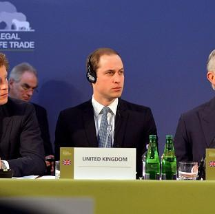 Prince Harry, left, with the Duke of Cambridge and the Prince of Wales, as they listen to speeches by foreign leaders at the Illegal Wildlife Trade Conference held at Lancaster House in London.