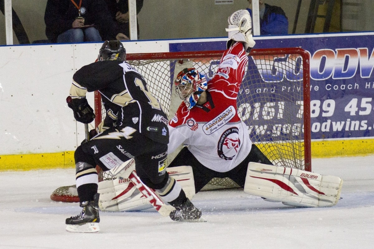 Netminder Steve Fone makes a save against the MK Lightning last season by Andrew Sobutta