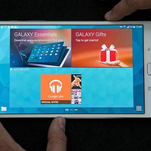 Messenger Newspapers: Samsung unveil their new Galaxy Tab S 8.4 inch model at Canary Wharf in London.
