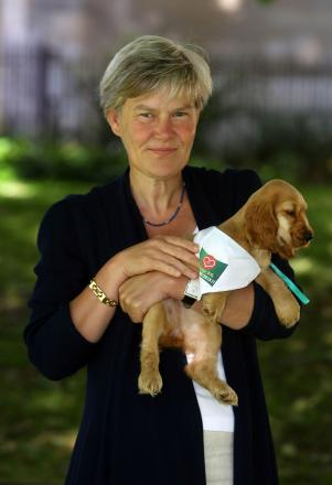 Kate Green MP with a puppy