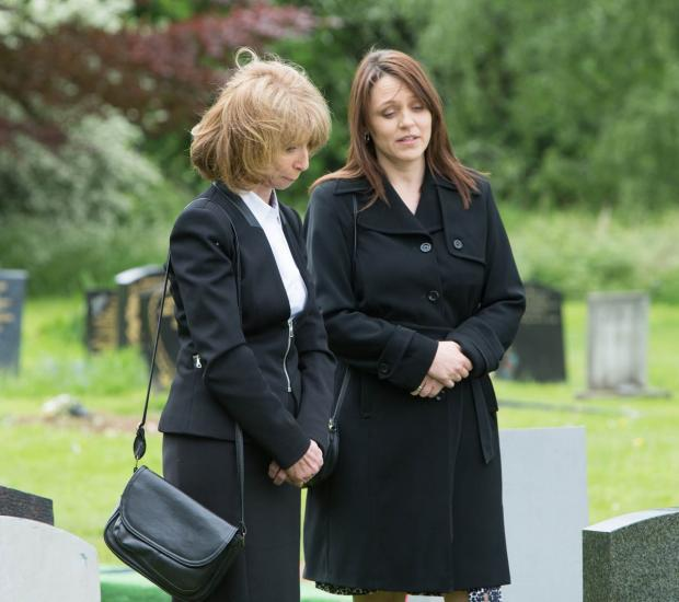 The characters in the picture are Anne Kirkbride as Deidre Barlow and Lorraine Hodgson as Ann McIntyre