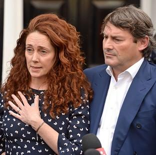 Rebekah Brooks and her husband Charlie Brooks make a statement outside their property in central London, following their acquittal in the hacking trial