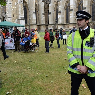 Campaigners claiming Boots has dodged more than £1bn in tax protest outside Westminster Abbey