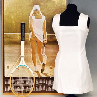 The famous Tennis Girl poster dress from the 1970s has been sold for £15,500 at auction (Fieldings Auctioneers Ltd/PA)