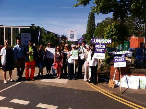 Trafford Council staff picket at the town hall