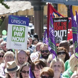 Public sector workers took part in a one-day walkout over pay, pensions, jobs and spending cuts