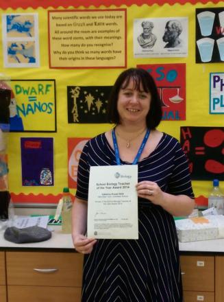 Catherine Russell with her certificate