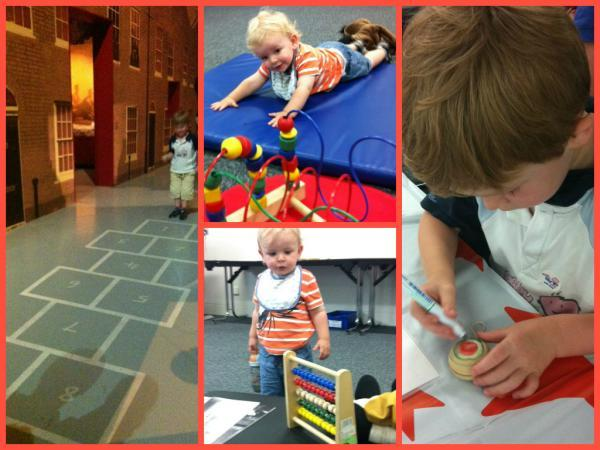 Oliver and Sam enjoy some of the toys and activities at the Imperial War Museum North