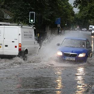 A flooded road in Lewisham, south-east London