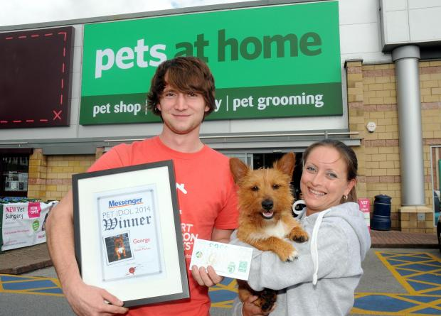 Left to right: Luke Sutherland, assistant manager for Pets at Home, George and his owner Susan