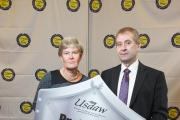 Kate Green MP with Usdaw general secretary John Hannett at the House of Commons