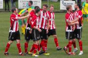 Kyle Perry being congratulated on his goal, Alty's second goal.