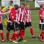Messenger Newspapers: Kyle Perry being congratulated on his goal, Alty's second goal.