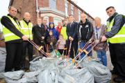 Council leader, Sean Anstee, joins a litter pick team as part of the authority's wider campaign to keep Trafford green