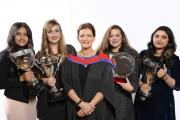 Sharal Javed, Megan Killen, Headteacher Julie Hazeldine, Georgina Clarke, Aliza Abid - all girls were thw FGS head girl team from 2013/2014