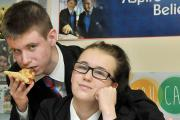 Getting a pizza the action - Declan Fletcher and Chloe Barlow